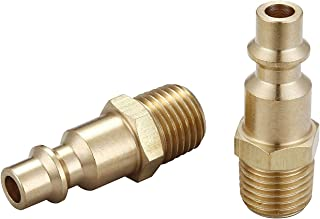 Air hose fittings and Air Coupler Plug: Air Compressor Quick-Connect MNPT Male Plug Kit (Industrial Type D, 1/4-Inch NPT Male Thread, Solid Brass, 2 Piece)