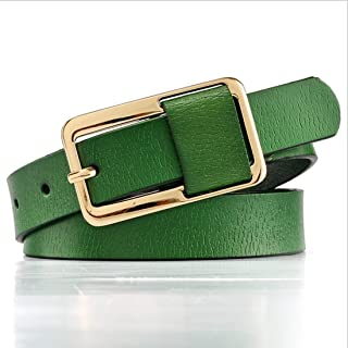 ZYDP Genuine Leather Cowhide Women Skinny Leather Belt Thin Jeans Belts with Single Prong Buckle Muti-Colors (Color : Green)