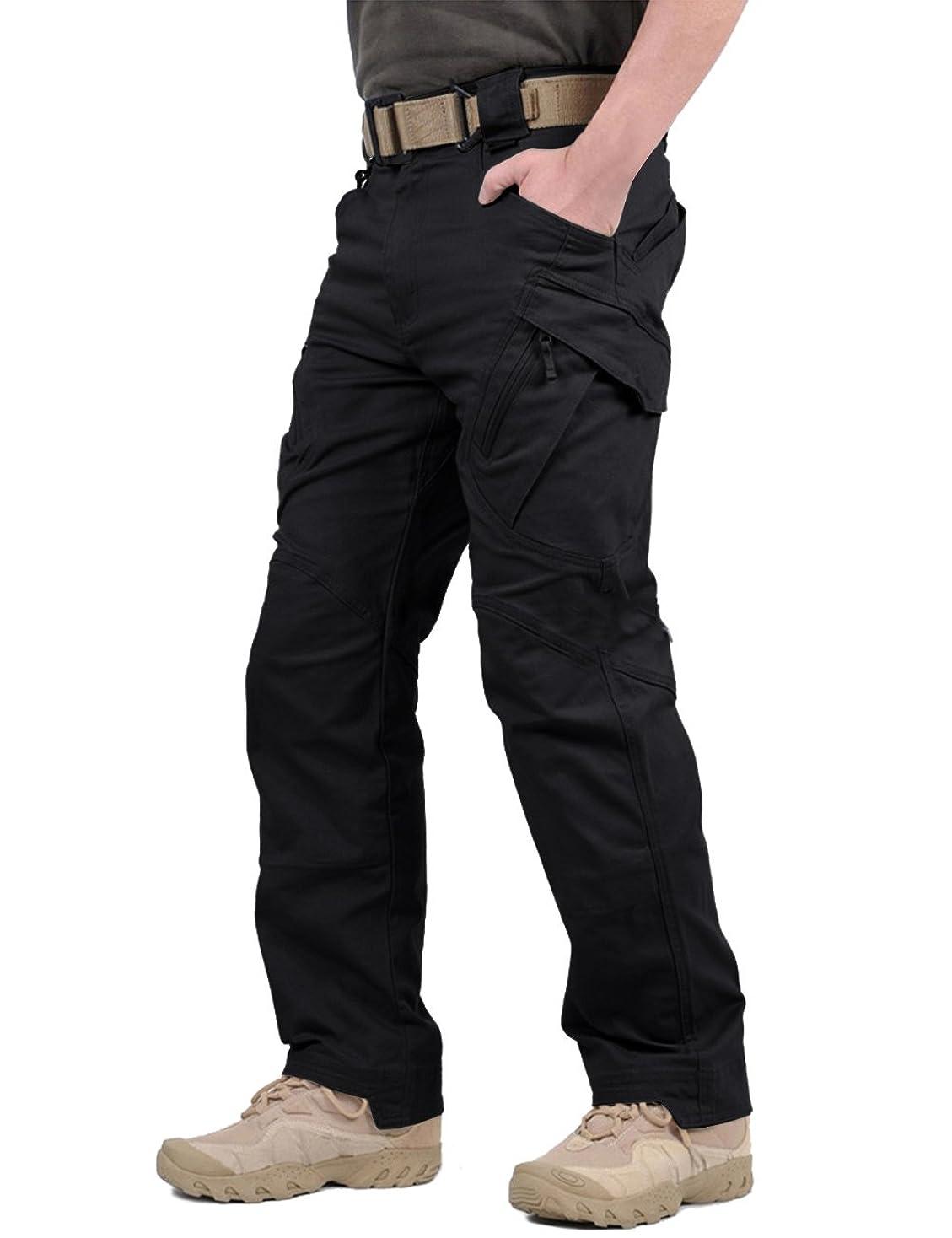 暖かく顕著深遠TACVASEN メンズ アウトドア タクティカル ロングパンツ カジュアル ズボン コットン カーゴパンツ ストレッチ 多機能