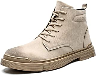 ZHANGLEI Classic Ankle Boots for Men Work Boot Lace up Faux Leather Round Toe Anti-Collision Toe Stitching Soft Burnished Style Antislip (Color : Buff, Size : 6.5 UK)