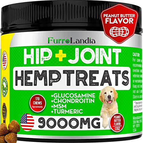 FurroLandia Hemp Hip & Joint Supplement for Dogs with Hemp Oil, Glucosamine, Chondroitin, MSM - Joint Relief for Dogs - Reduces Discomfort - 9000MG of Hemp Extract - Peanut Butter Flavor