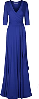 Women's #MadeInUSA 3/4 Sleeve V-Neck Solid Maxi Wrap Dress Plus