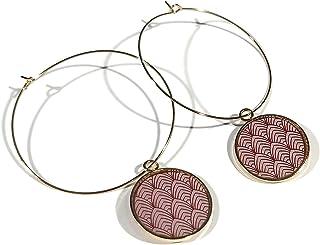 Orecchini a cerchio art déco in ottone 24 carati con resina dorata (rosa cipria)