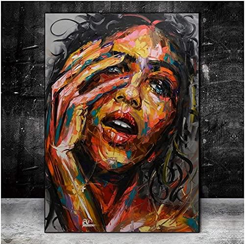 YHJK Pintura de Arte Pintura de Grabado en HD Imagen de Mujer Hermosa Artista de Pared nórdico Decoración del hogar Graffiti Abstracto Sala de Estar Moderna 70x90cm Sin Marco