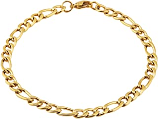 Men Women 18k Real Gold Plated Figaro Chain 5mm 9mm 13mm Stainless Steel Bracelet 8.5 Inches