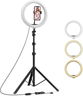 upReale 12 Inch Selfie Ring Light with 7 Ft Tripod Stand and Phone Holder, Dimmable LED Camera RingLight for Tiktok/YouTub...