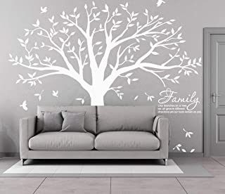 MAFENT Family Tree Wall Decal Quote- Family Like Branches On A Tree Lettering Tree Wall Sticker for Bedroom Decoration Whi...