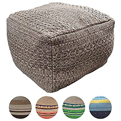 """HIGOGOGO Pouf Cover, Unstuffed Ottoman Handmade Woven Foot Stool Soft Knitted Cotton Linen Footrest Square Floor Cushion Unfilled Pouf for Living Room Home Chair, Brown, 16.5""""x16.5""""x12.9"""""""