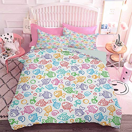 Hiiiman Quilted Comforter Set Colorful Doodle Style Fish Figures with Happy Faces and Bubbles Under The Sea Aquarium (3pcs, Full Size) Includes 2 Pillowcase