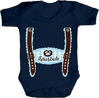 ShirtStreet Wiesn Strampler Bio Baumwoll Baby Body Kurzarm Jungen Mädchen Oktoberfest - Junge Lederhose Lausbub