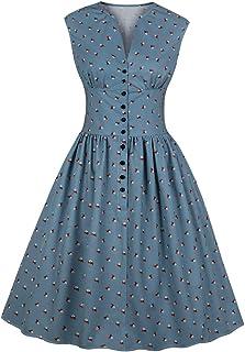 be00cf8a061 Wellwits Women s Split Neck Floral Button 1940s Day 1950s Vintage Tea Dress