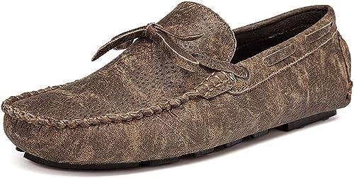 XHD-Chaussures Mocassins de Conduite pour Hommes Décontracté Confortable et léger Mocassins légers pour Bateaux avec Glands (Couleur   Kaki, Taille   43 EU)