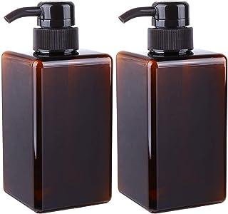 Mobestech 2pcs Refillable Empty Pump Bottles Soap Dispenser Bottles for Kitchen Bath Liquid Soap Shampoo Lotions Hand Dispensers 450ml Brown
