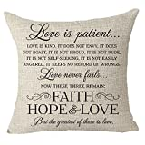FELENIW Love is Patient Kind Love Never Fails Best Gift to Family Motivational Throw Pillow Cover Cushion Case Cotton Linen Material Decorative 18' x 18'' inches