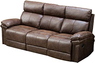 Romatpretty Recliner Leather Sofa 3 Seat,Living Room Movable Couch,Chair Set Split Back Design Strong Bonded Leather Reclining Loveseat Adjustable Motion for Home Office Sofas Nice Style