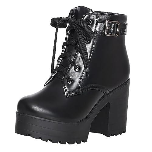8e998ea6399e28 UH Damen Blockabsatz Stiefeletten Schnürung Plateau High Heels Boots mit  Schnalle 10cm Absatz Warm Schuhe