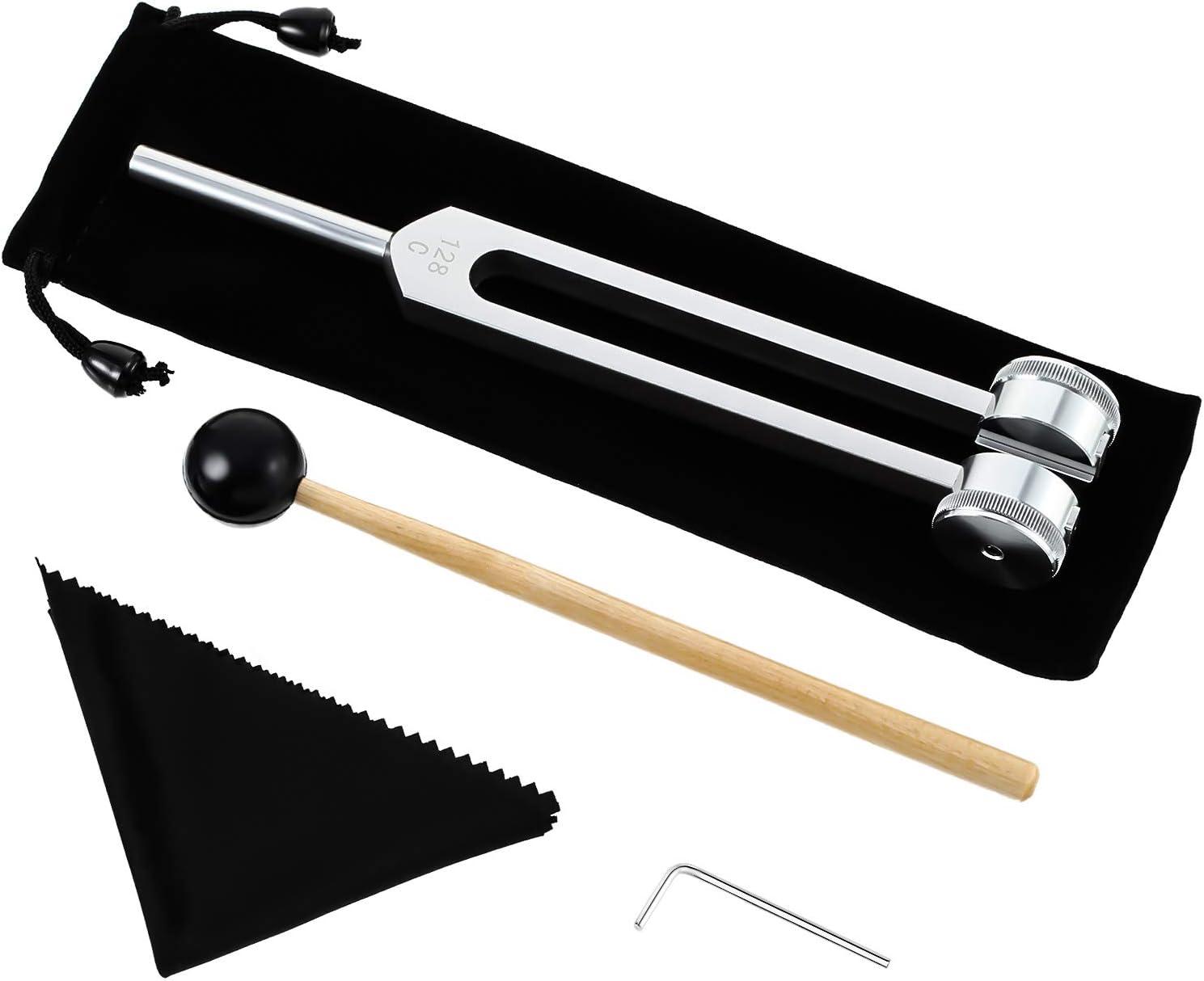 Horquilla de afinación de 128 Hz Horquilla de aleación de aluminio que ofrece respuesta de frecuencia precisa con un martillo de silicona, herramienta de reparación y paño de limpieza