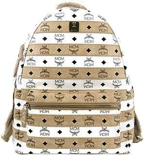 MCM Women's White/Beige Coated Canvas Stripe Medium Backpack MMK9AXL52WT001