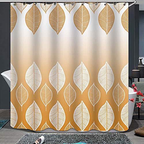 winolive Gelber Ombre Farbverlauf Duschvorhang orange weiß abstrakte Boho-Blätter von hellgelb bis dunkelorange mit 12 Haken, maschinenwaschbar, wasserdicht, Digitaldruck Badezimmer Dekor