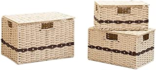 SCDZS Ensemble de bacs de rangement, boîte de rangement pliable Cube avec couvercles et poignées Organisateur de paniers d...