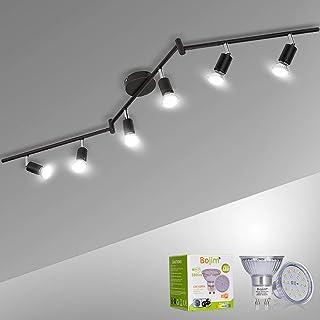 Plafonnier 6x Spots LED Orientable & Pivotants, Noir Mat, Bojim Luminaire Plafonnier LED 6W GU10 Blanc Neutre 4500K pour S...