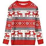 Camii Mia Big Girls' Reindeer Pullover Crewneck Ugly Christmas Sweater (Large, Red Grey)