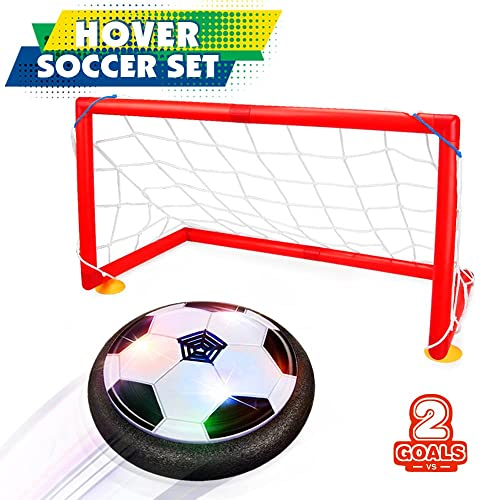 Betheaces Kids Toys Hover Soccer Ball Set 2 Goals Gift Football Disk Toy LED Light Boys