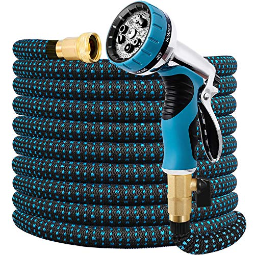 """Expandable Garden Hose 75FT Water Hose with 9 Function Nozzle and Durable 3-Layers Latex, Extra Strength 3750D Flexible Hose with 3/4"""" Solid Brass Fittings and High Pressure Water Spray Nozzle Hoses"""
