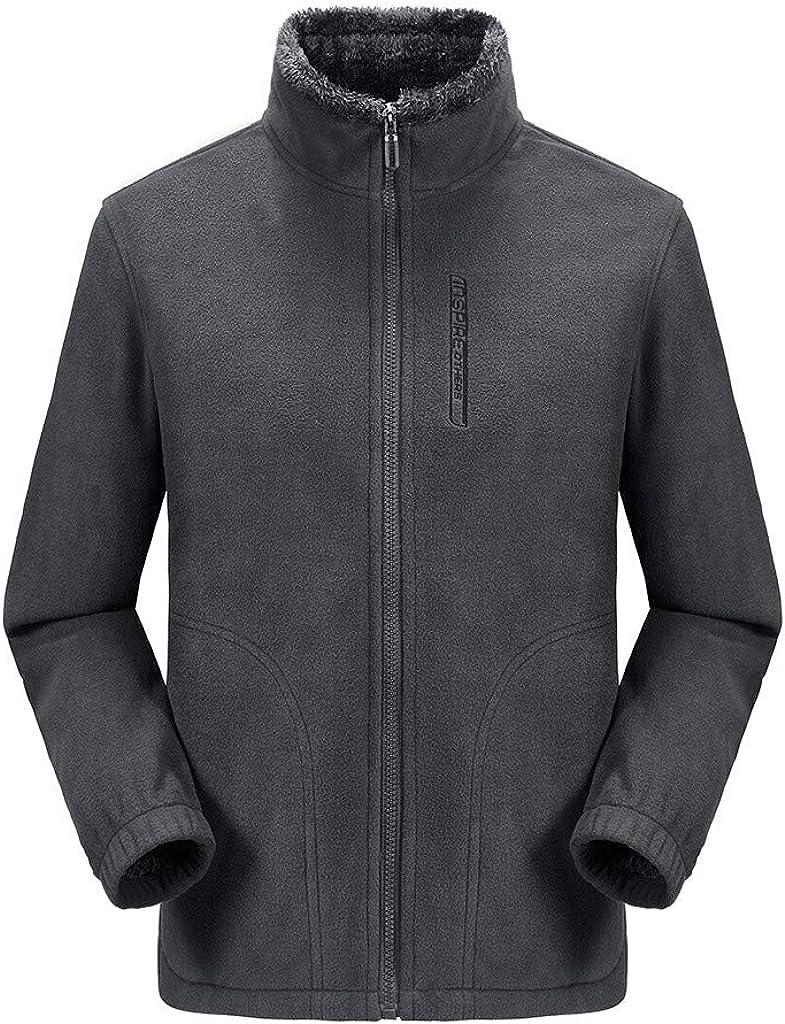 Men's Casual Autumn Winter Long Sleeve Tops Zipper Fleece Outdoor Add Wool Coat