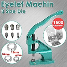 go2buy Heavy Duty 3 Die Grommet Machine Hand Eyelet Press Hole Punch Tool with 1500 Silver Grommets Eyelet