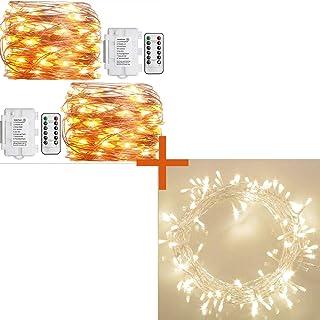 Koopower 36ft 100 LED Battery Operated String Lights + 2 Pack Outdoor String Lights 16ft 50 LEDs Battery Operated Fairy Li...