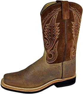 Smoky Men's Brown Distress Leather Square Toe Boot