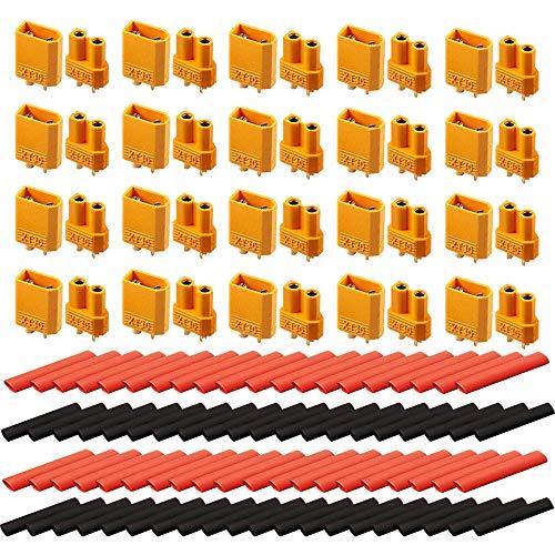 Senven (20 Paar) Hohe Qualität XT30 Männlich Weiblich Adapter, XT30 Männlich Weiblich Rundstecker Stecker - Hochstrom Stecker für RC Lipo Akku Adapter, 40Pcs + 80 Pcs Schrumpfschlauch.