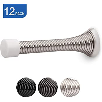 Box of 100 Nickel 3 Spring Door Stops with Rubber Tip