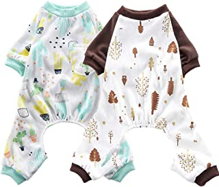 Amakunft 2 Pack of Dog Pajamas Soft Cats Onesie Cotton Puppy Rompers Pet Jumpsuits Cozy Bodysuits Dog Clothes for Small Dogs and Cats