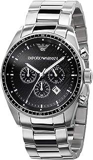 Emporio Armani Men'S Black Dial Stainless Steel Band Watch Ar0585, Japanese Quartz, Analog