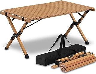 FIELDOOR ウッドロールトップテーブル 幅90×奥行き60×高さ45cm 天然木 コンパクト 収納 簡単組立 収納バッグ付 ローテーブル インテリア キャンプ アウトドア