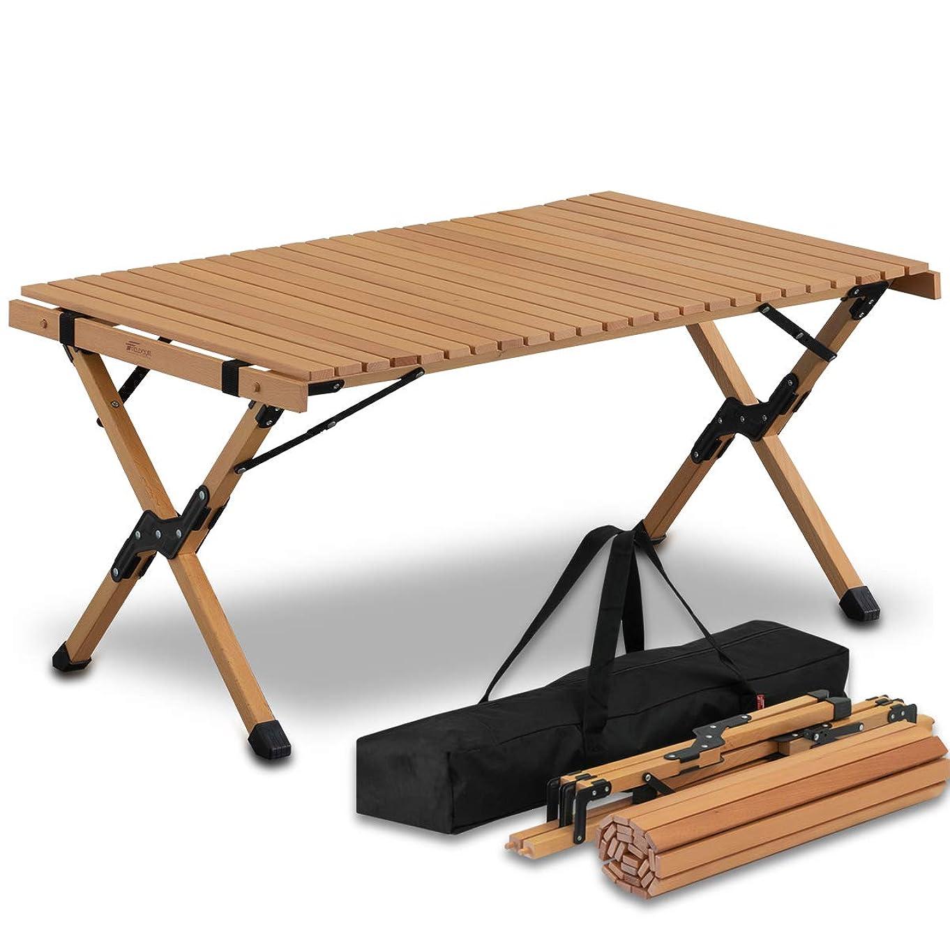 内向き上何故なのFIELDOOR ウッドロールトップテーブル 幅90×奥行き60×高さ45cm 天然木 コンパクト 収納 簡単組立 収納バッグ付 ローテーブル インテリア キャンプ アウトドア