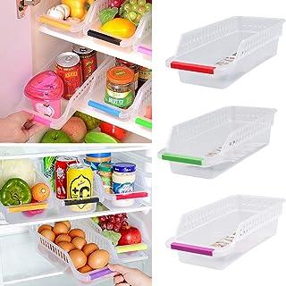 Lot de 3 récipients pour aliments, JRing Boîte en plastique pour réfrigérateur, réfrigérateur, rangement corbeilles, récip...