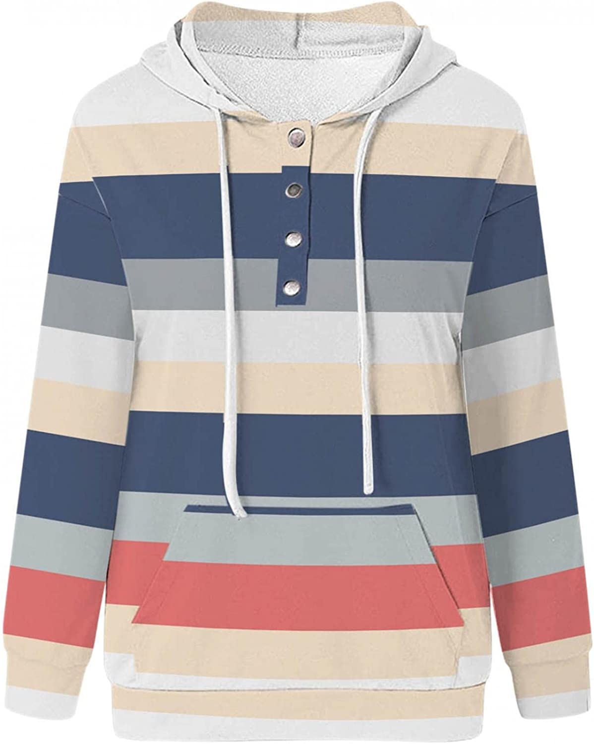 COMVALUE Womens Hoodies,Drawstring Pullover Striped Long Sleeve Button Down Casual Sweatshirts with Pocket