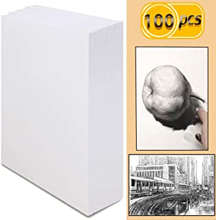 UPlama 100 Sheets (98 lb/160gsm) Sketch Paper,Artist Sketch Pad,Acrylic Art Pad for Sketching, Ink Sketch Book, Durable Acid Free Drawing Paper, Ideal for Kids & Adults(Bright White,16K,19 x 26.5cm)