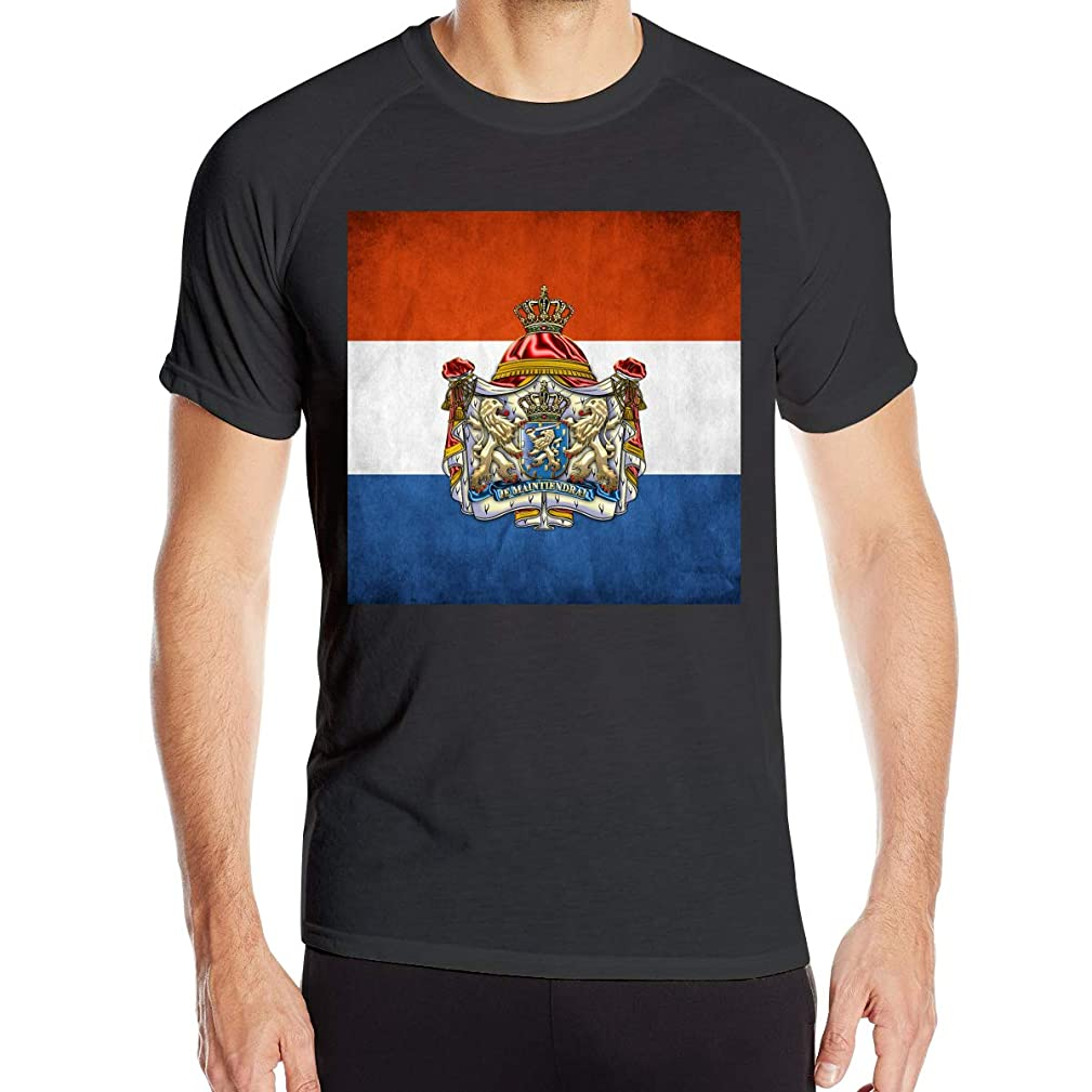 Chengduyatee Men's Coat of Arms and Flag of Netherlands T Shirts Short Sleeve Quick Dry Athletic Tee