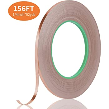 Tifanso Copper Foil Tape Conductive Tape with Double Sided for EMI Shielding, Electrical Repairs, Guitar, Crafting, Garden (1/4inch×52yds)