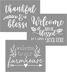 OCCdesign Blessed Welcome Sign Stencils Kit - Rustic Farmhouse Inspirational Template for Floors Furniture Paper Window Glass Door Wall Sign Painting Spraying Crafts Décor