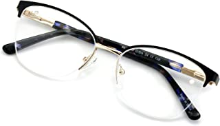 Women's Round Half Rim Optical Frame Reading Glasses - Clear Lens Metal Eyeglasses