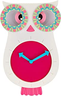 SkyNature Decor Wall Clocks, Cute Owl Decorative Clock for Girls, Indoor Silent Non-Ticking Battery Operated Clock for Bedroom, Playroom, Kindergarden, Nursery - 12 x 8 Inch, Pink