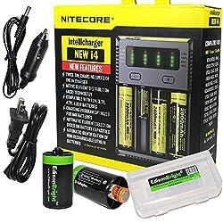 in budget affordable New i4 charger for NITECORE Li-Ion / IMR / Ni-MH / Ni-Cd 18650 18350 16340 RCR123 14500 AA…