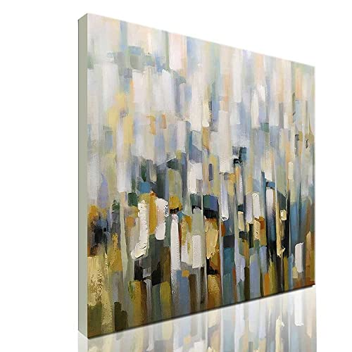 Asdam Art Abstract Wall White 3D Hand Painted Oil Painting On Canvas Framed Colorful