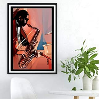 LZHNB Saxophone Player Prints Music Poster Room Wall Art Home Decor Hand Painted Canvas Painting Picture Gift -50x70cmx1 pcs no Frame