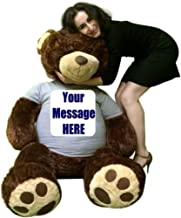 Big Plush Customized T-Shirt on 5 Foot Brown Teddy Bear, Shirt is Custom Imprinted with Your Text